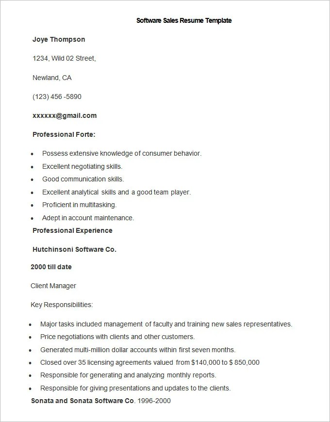 Sales Resume Template – 41 Free Samples Examples Format