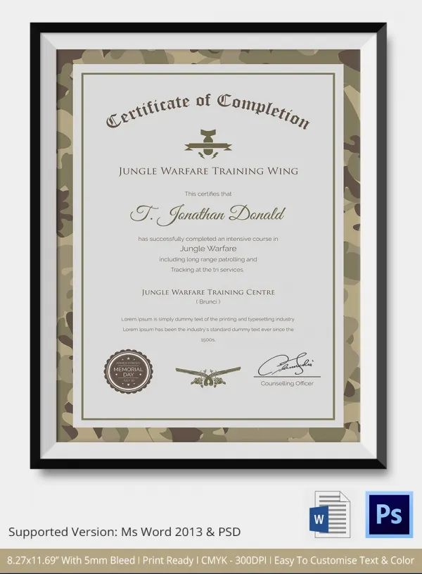 certificate completion template