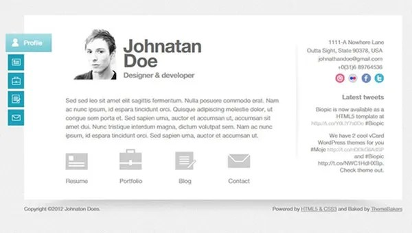 This collection includes impressive curriculum vitae/cv, resume and cover letter templates with professional and modern design available for instant free. 36 Html5 Resume Templates Free Samples Examples Format Download Free Premium Templates