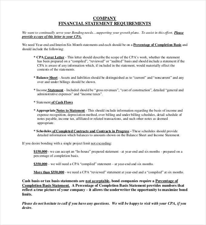 30 Financial Statement Templates  PDF DOC  Free