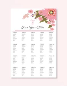 Floral wedding seating chart illustrator template also templates pdf doc free  premium rh