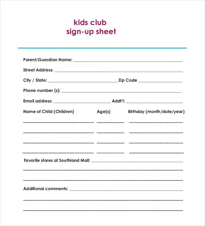 ... Sign Up Sheet Doc Tunnelvisie   Printable Sign Up Sheets ...  Club Sign Up Sheet Template
