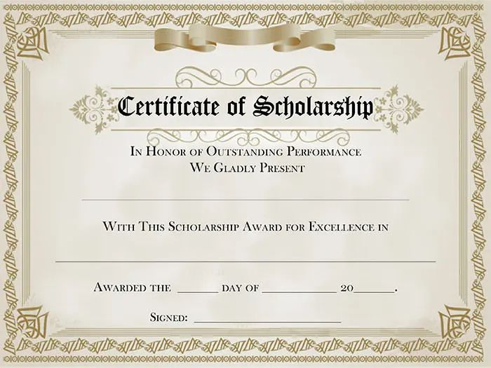 scholarship certificate template free