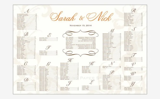 Wedding Reception Seating Chart Planner Wedding Invitation Sample – Sample Wedding Seating Chart