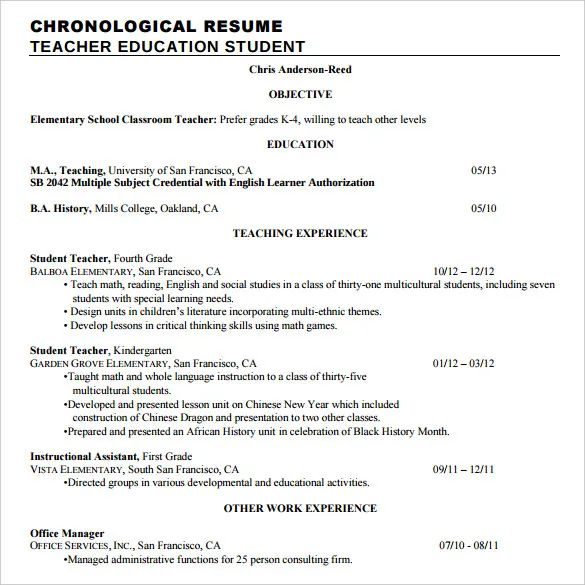 example chronological resumes