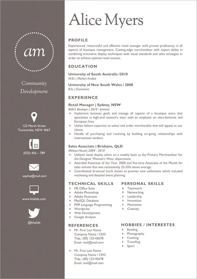 Flat Resume Template – 31 Free Samples Examples Format