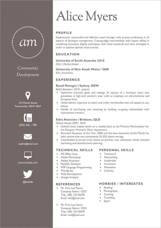 free modern resume to download