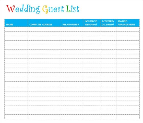 Wedding Guest List Template Microsoft Word  Wedding Invitation Sample