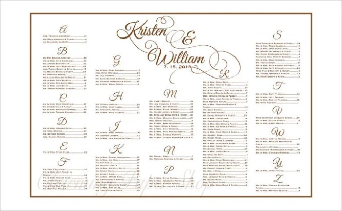 Free Wedding Seating Chart Poster Template Wedding Invitation Sample – Sample Wedding Seating Chart