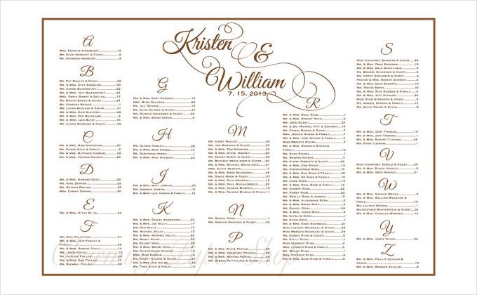 Wedding Seating Chart Free Printable Invitation Sample