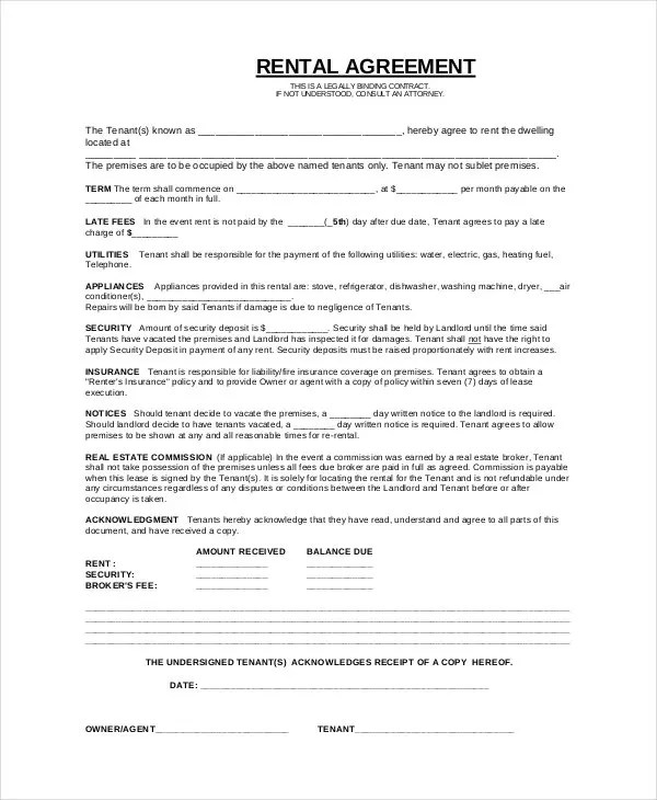 Simple Lease Agreement Template   Simple Lease Agreement Template Binding Contract Template Sample