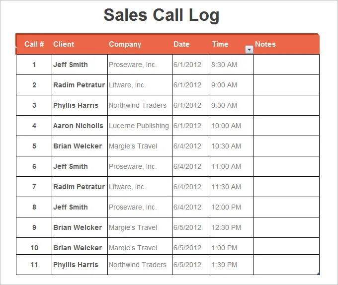 sales call log template