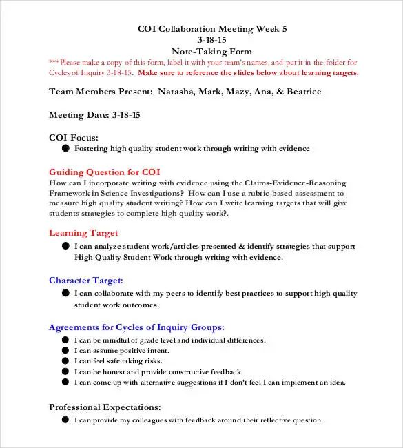 taking meeting notes template