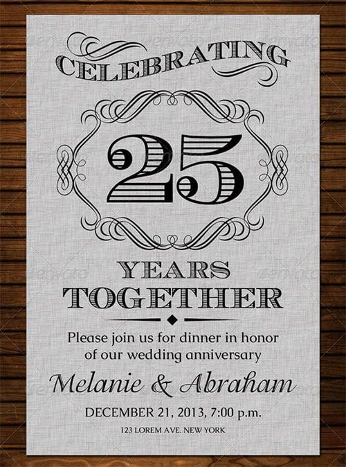 Cute Wedding Anniversary Invitation Template