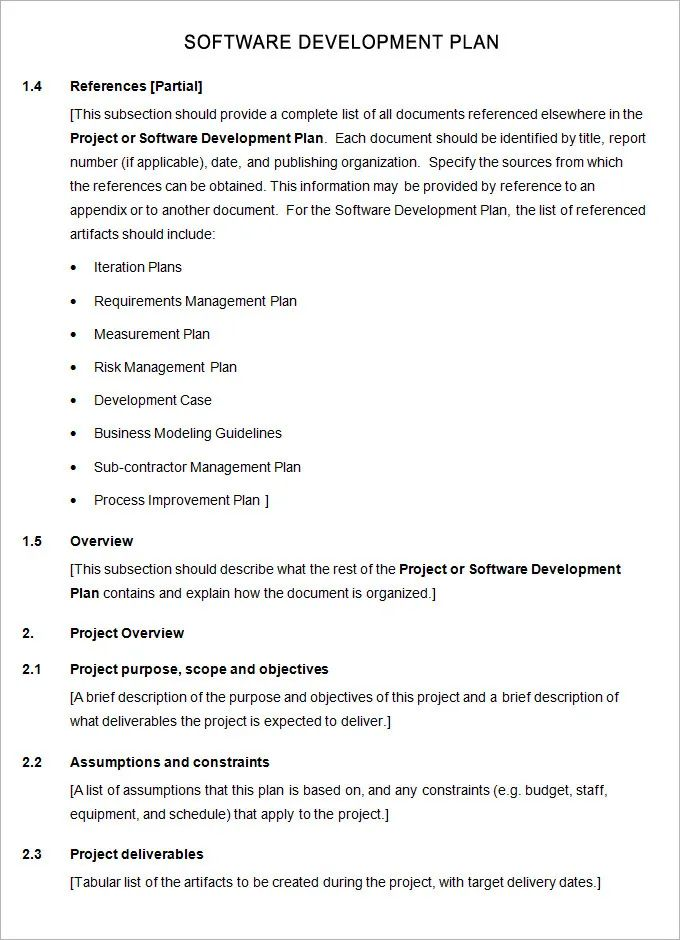 sample software development project plans