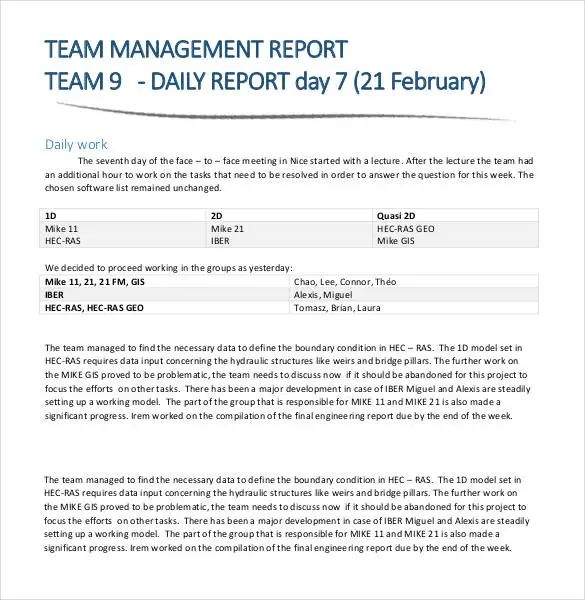 how to write daily work report sample