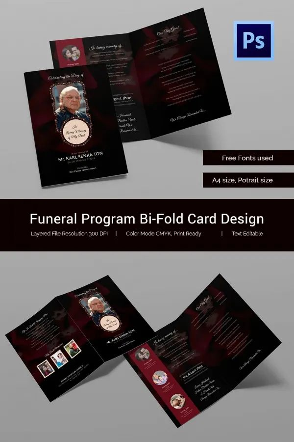 obituary card template