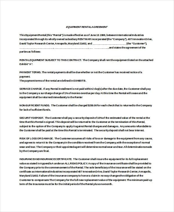 Equipment Rental Agreement Template Doc Create
