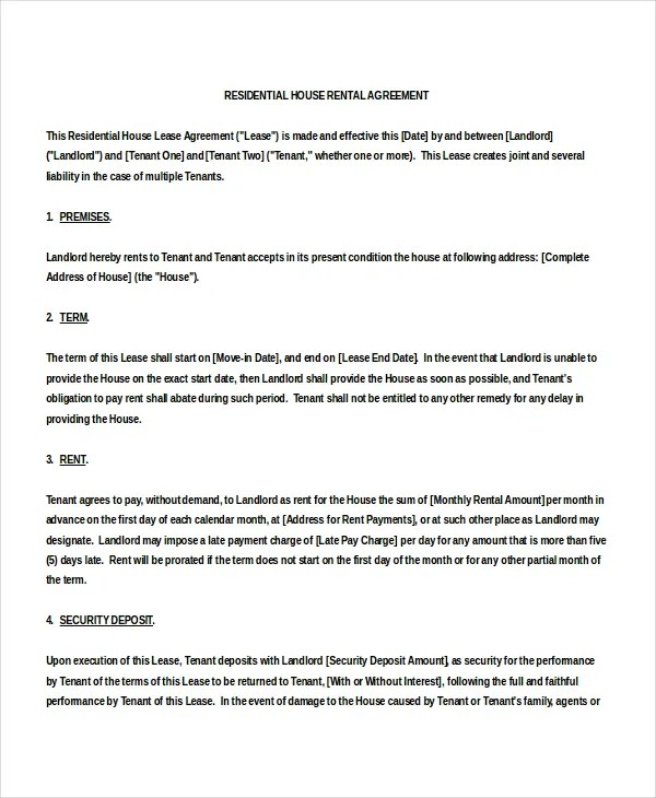 18+ House Rental Agreement Templates – Free Sample, Example Format ...