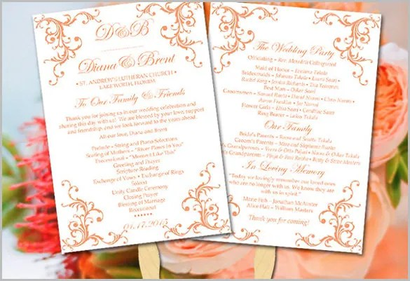 Rustic Wedding Formal Invitation Template Diy Program Fuzzy Peach Printable