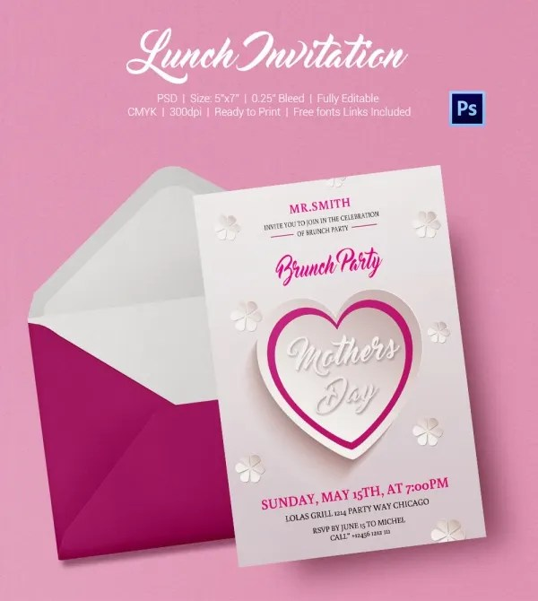 Invitation Card For Lunch – Lunch Invitation Template