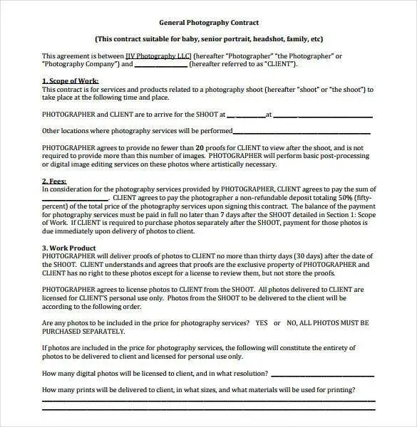 23 Photography Contract Templates – PDF DOC Free