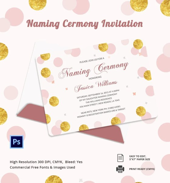 Naming Ceremony Invitation Pink And White Baby And Mother Elephant
