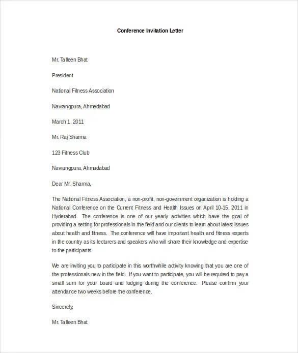 Invitation Letter Sample For A Conference | Tenancy Agreement Form