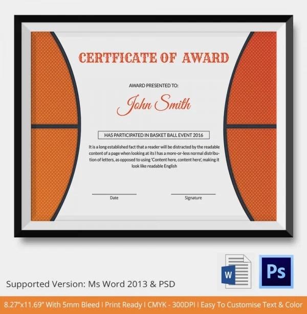 free basketball camp certificate