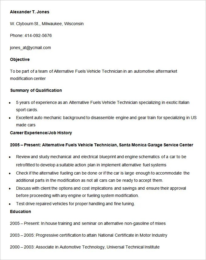 Automobile Resume Templates – 25 Free Word PDF Documents