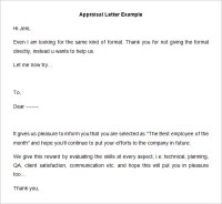 26+ Sample Appraisal Letters