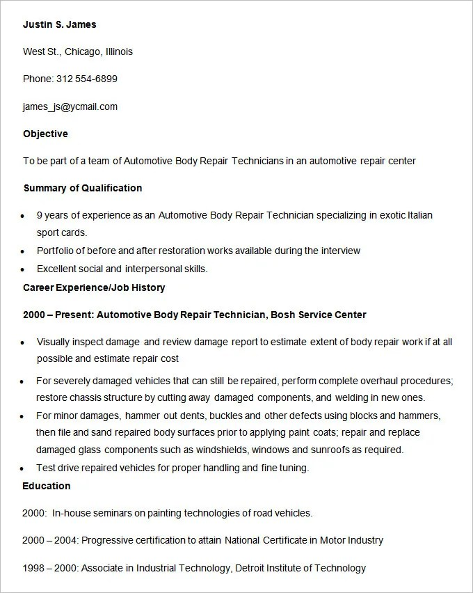 Automobile Resume Template – 22 Free Word PDF Documents Download