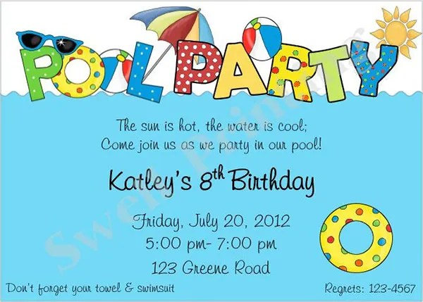 Pool Party Invitation Templates Psd