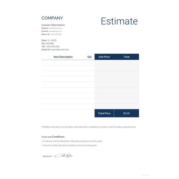 16+ Sample Estimate Templates - DOC, PDF, Excel | Free & Premium ...