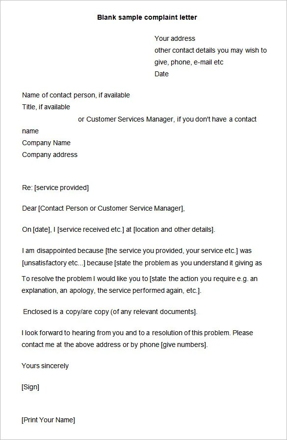 Sample Letter Of Complaint To Employer On Unfair Office
