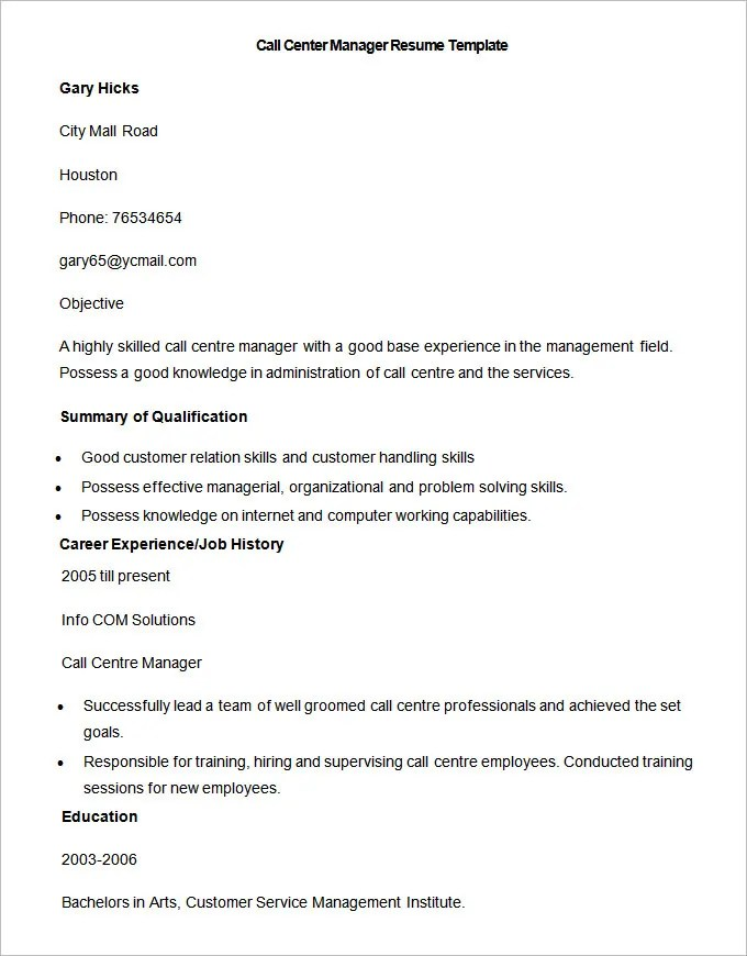 Call Center Resume Call Center Resume Examples Call Center Resume  Resume For Call Center