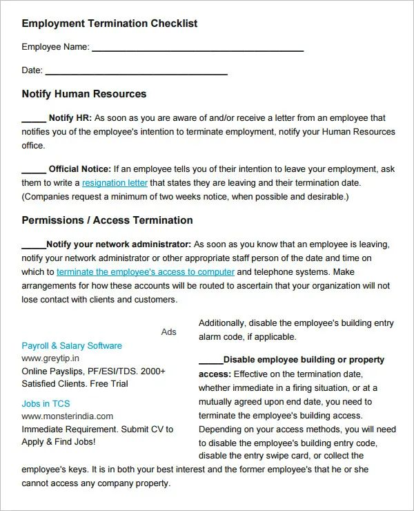 human resource checklist