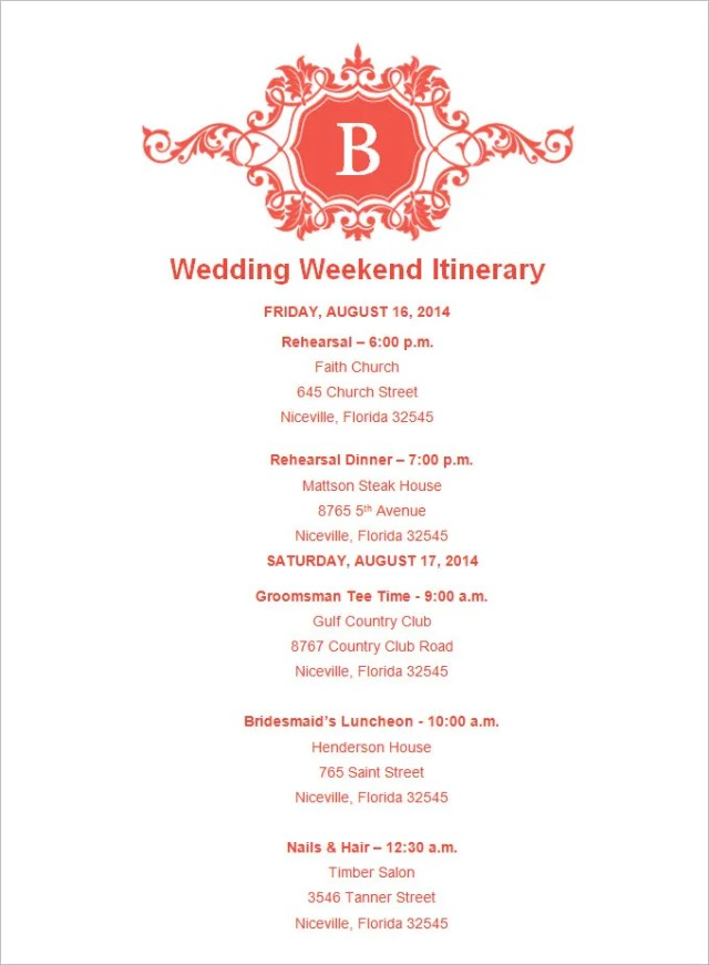 wedding weekend itinerary templates free download