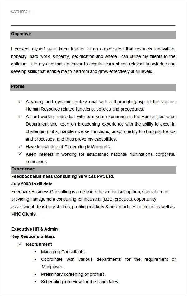 hr executive assistant resume samples