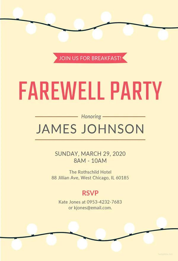 goodbye party invitation wording