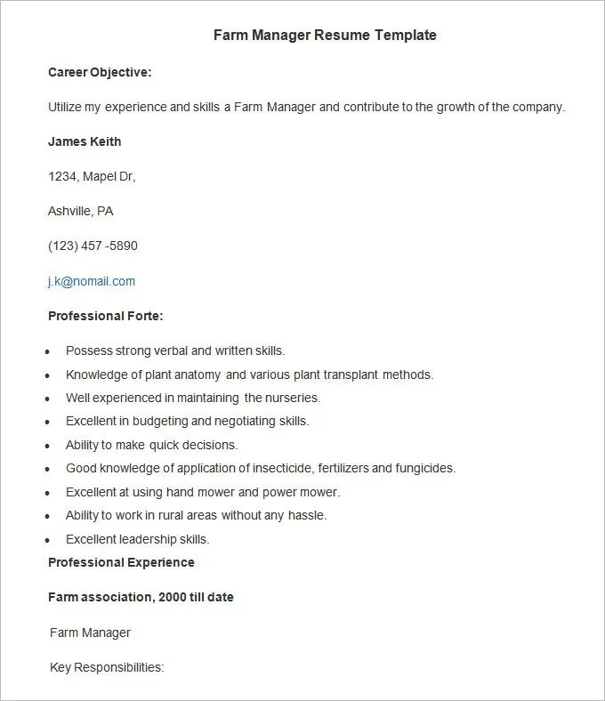 agriculture resume templates