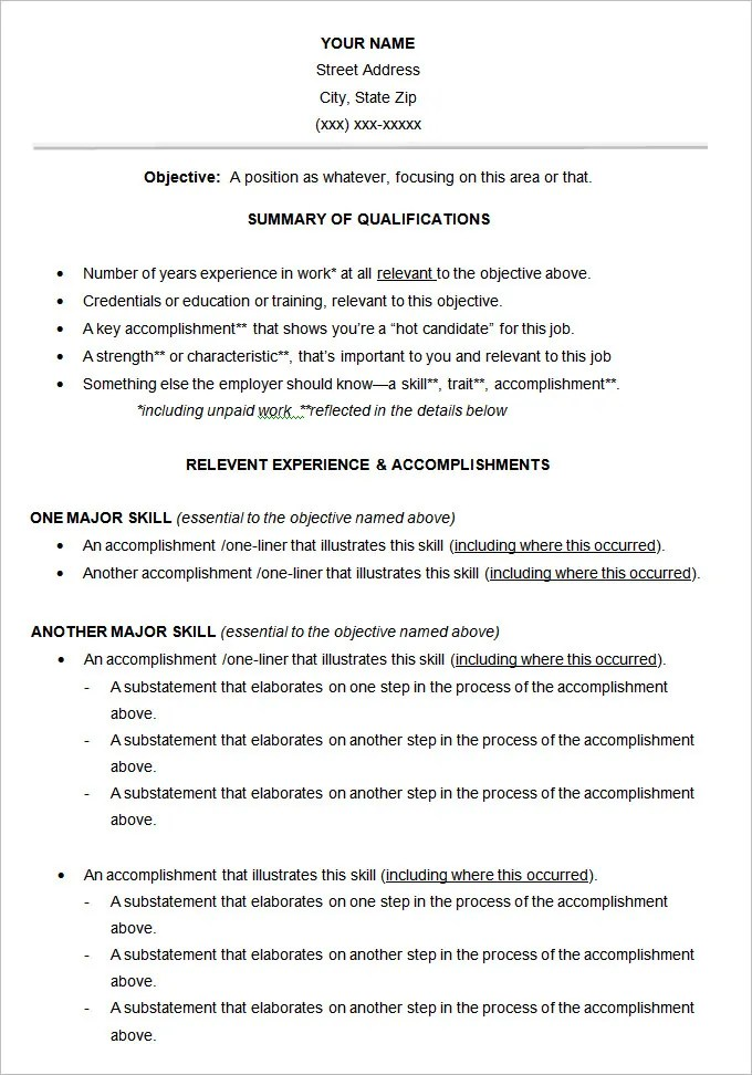 Functional Resume Template – 15 Free Samples Examples Format