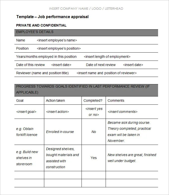 Great Employee Appraisal Forms Templates To Free Appraisal Forms