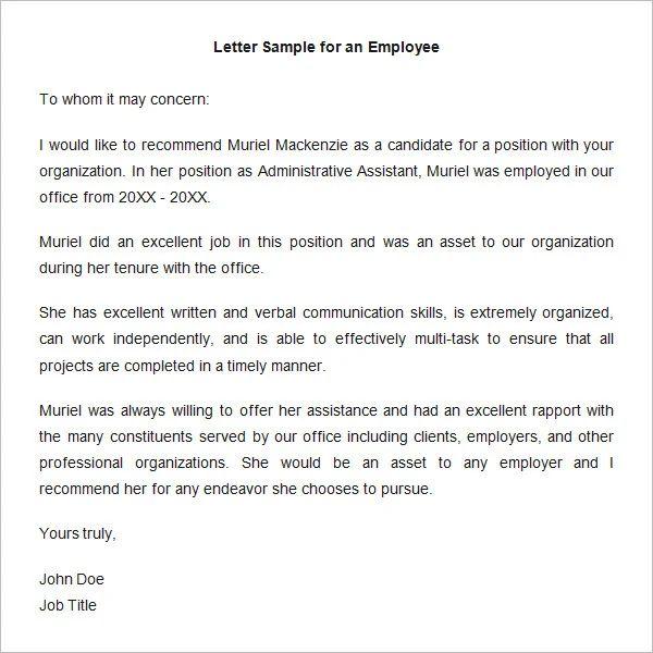 sample of recommendation letter for regularization