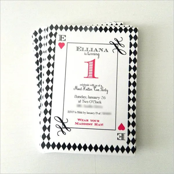 Alice In Wonderland Mad Hatter Tea Party Birthday Square Paper Invitation Card