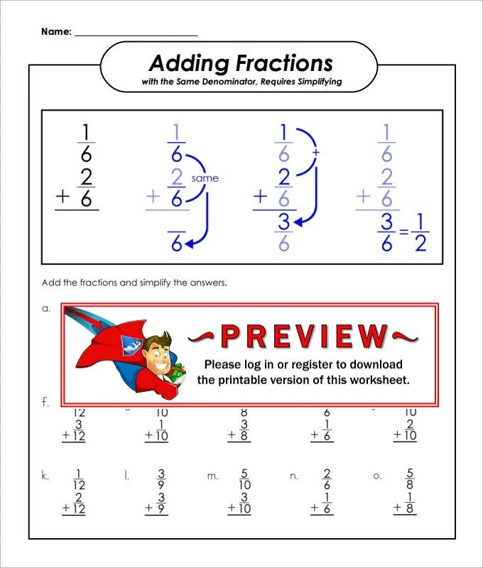 23 Sample Adding Fractions Worksheet Templates