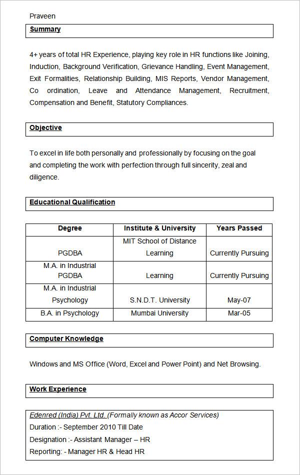 21+ HR Resume Templates - DOC | Free & Premium Templates