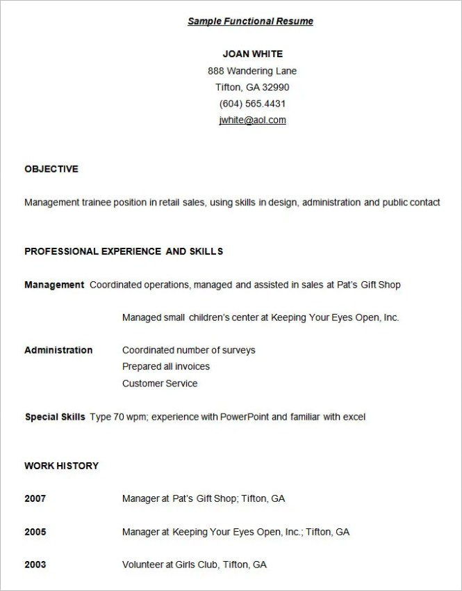 Functional Resumes Templates - Resume Sample