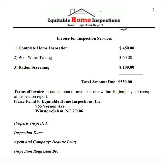 10 Sample Home Inspection Report Templates Word Docs