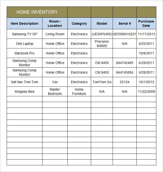 home inventory template with pictures